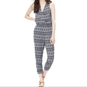 9df01fa7778 NWOT LOFT Navy and White Pattern Jumpsuit